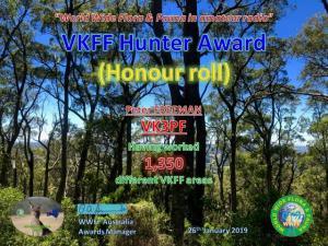 VK3PF VKFF Hunter Honour Roll 1350