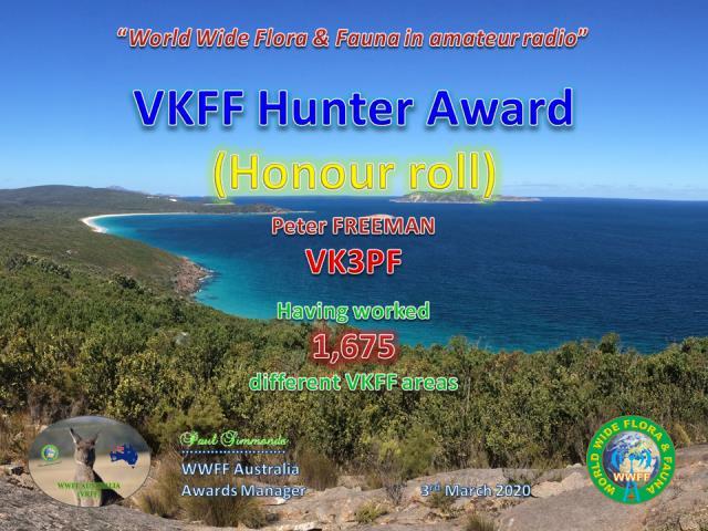 VK3PF - VKFF Hunter Honour Roll 1675
